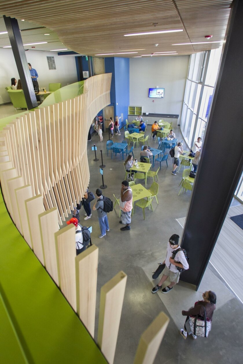 The new Mesa College cafeteria includes an upstairs lounge area where students can relax and meet with friends.