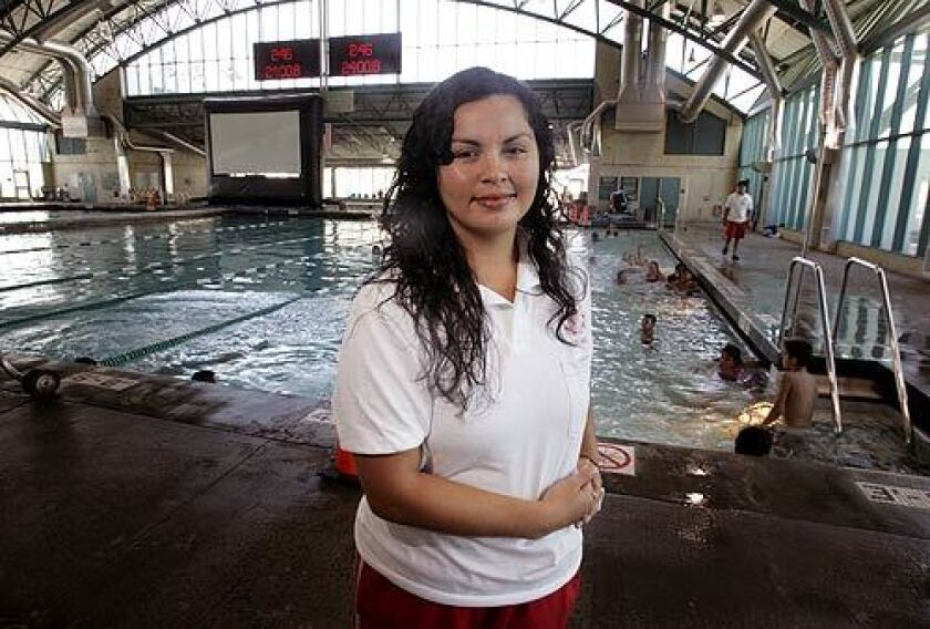 Alex Lopez, a lifeguard and former water polo player, is an assistant coach for the Commerce youth water polo team at the Aquatorium, where Olympians Patty Cardenas and Brenda Villa trained.