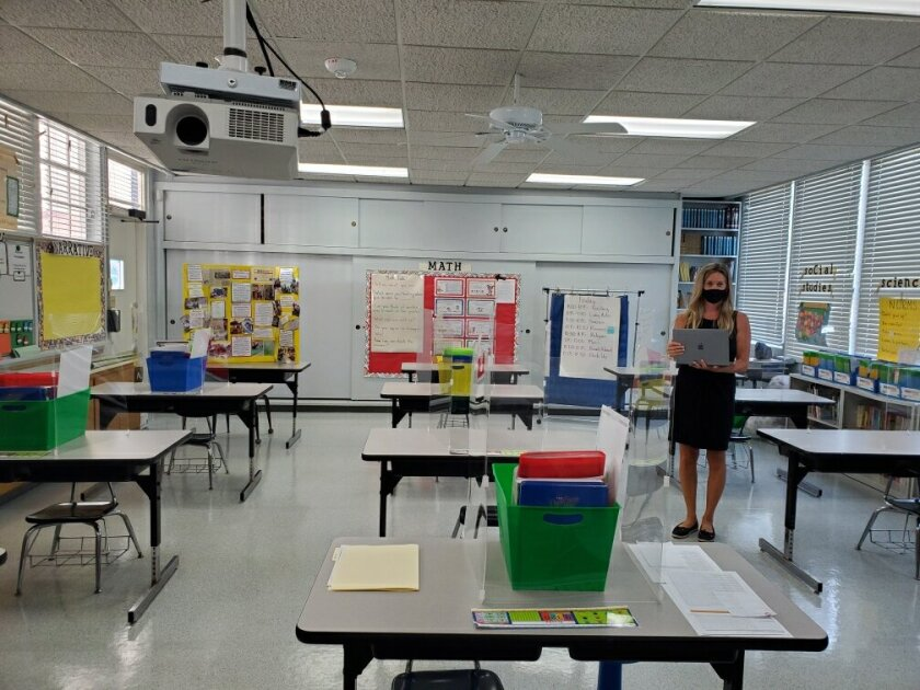 A third-grade classroom at Stella Maris Academy illustrates the La Jolla school's plans for reopening in-person classes.