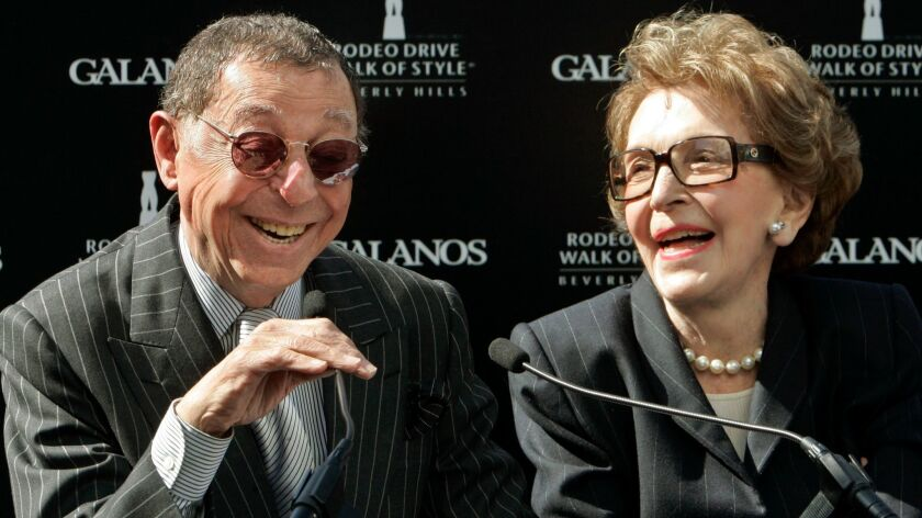 Fashion designer James Galanos with former First Lady Nancy Reagan in Beverly Hills in 2007. Galanos died Oct. 30, 2016, in West Hollywood at 92.