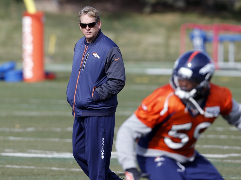 Denver Broncos defensive coordinator Jack Del Rio will take over as interim coach as Coach John Fox recovers from surgery.