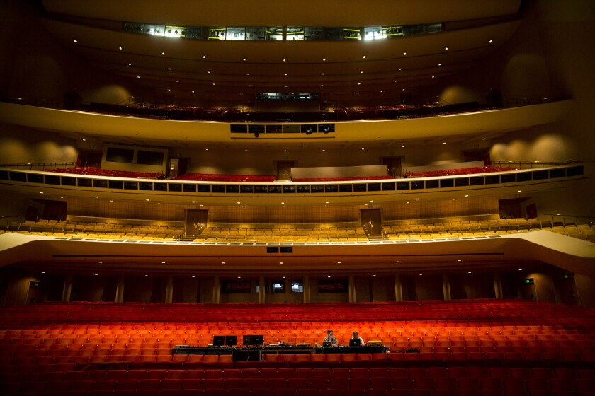 Inside the empty Dorothy Chandler Pavilion auditorium