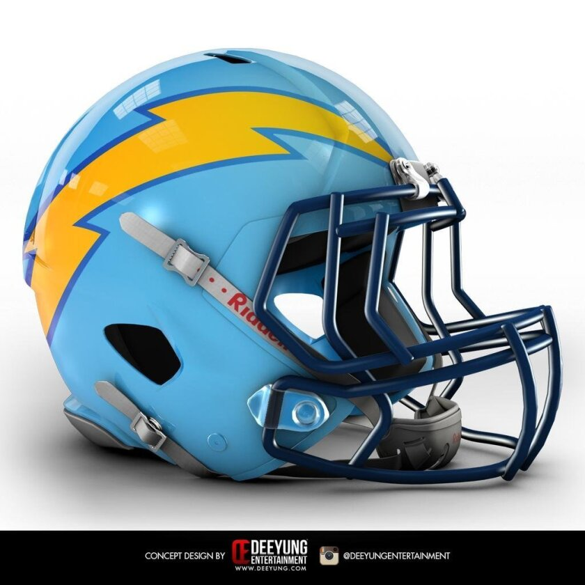 Fitting helmet to match the Chargers' powder blues. From Deeyung Entertainment. @DeeYung