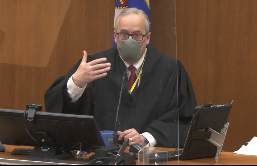 In this screen grab from video, Hennepin County Judge Peter Cahill presides over pretrial motions prior to continuing jury selection in the trial of former Minneapolis police officer Derek Chauvin, Wednesday, March 10, 2021, at the Hennepin County Courthouse in Minneapolis. Chauvin is charged in the May 25, 2020 death of George Floyd. (Court TV, via AP, Pool) (Court TV, via AP, Pool)
