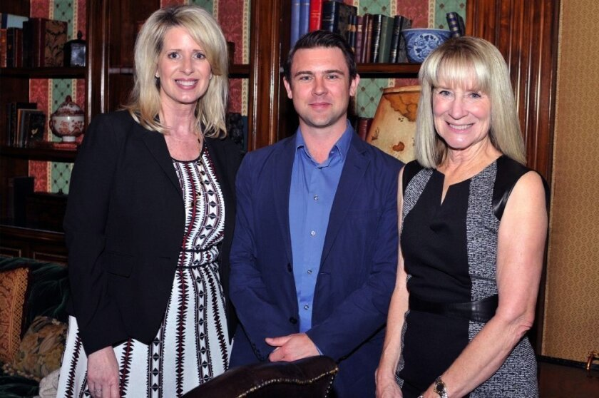 Kelly Colvard of Northern Trust, author Owen Sheers, Rancho Santa Fe Literary Society President Candace Humber.