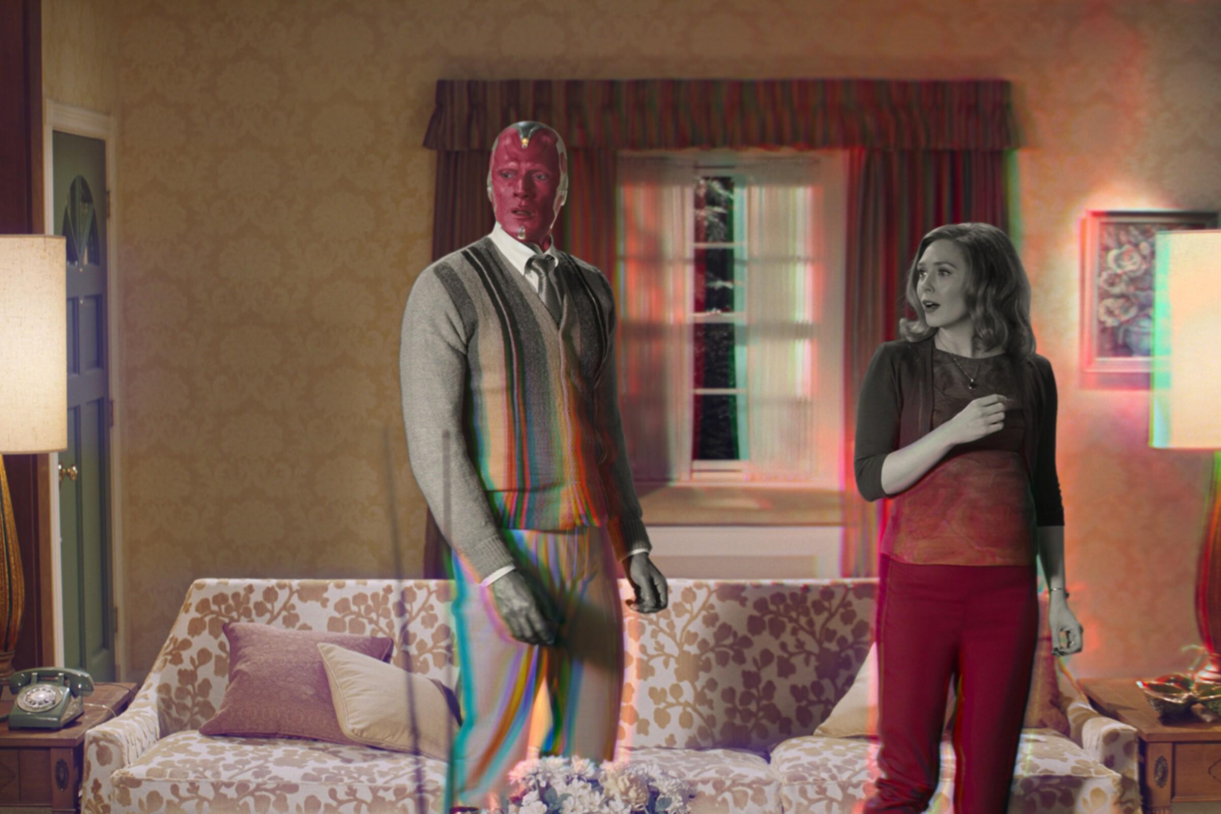 "Paul Bettany and Elizabeth Olsen star in ""WandaVision"" on Disney+."