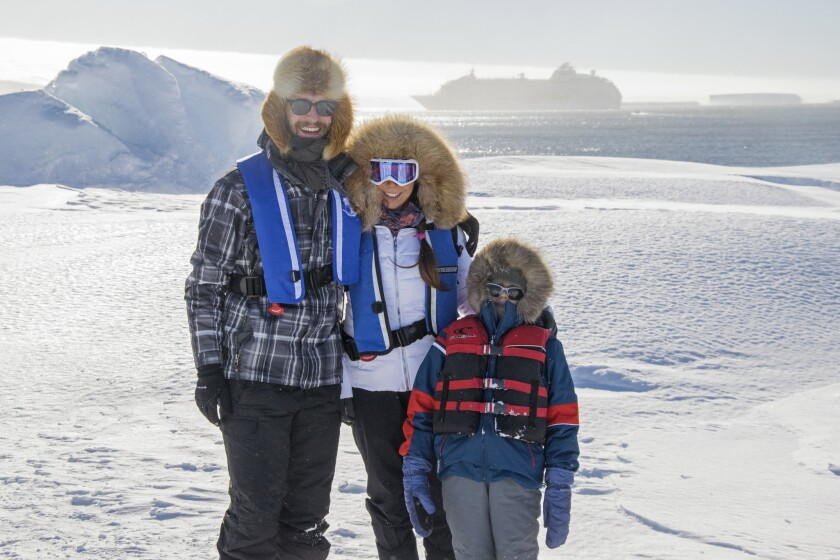 The Myers family in Antarctica.