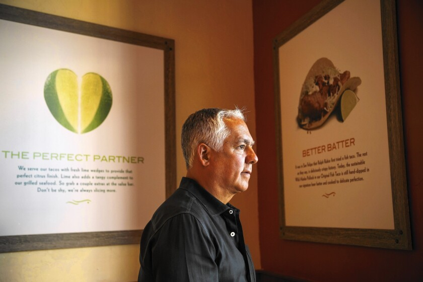 Ralph Rubio, co-founder of the Rubio's fast-casual restaurant chain, visits a Rubio's in Glendale that has been remodeled to reflect the company's beachy beginnings.
