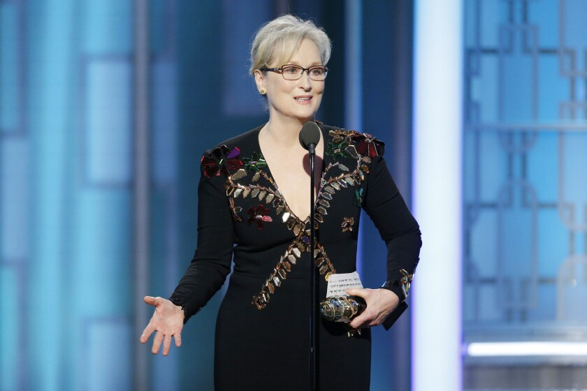 Meryl Streep at the Golden Globes on Sunday night.