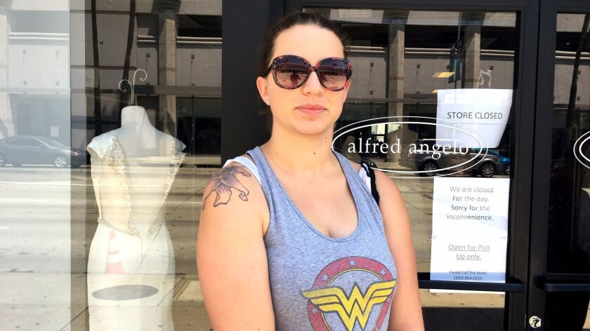 In July, Tasha French drove from Lancaster to the Alfred Angelo Bridal shop in Los Angeles' Beverly Grove neighborhood only to find that the store had shut down.