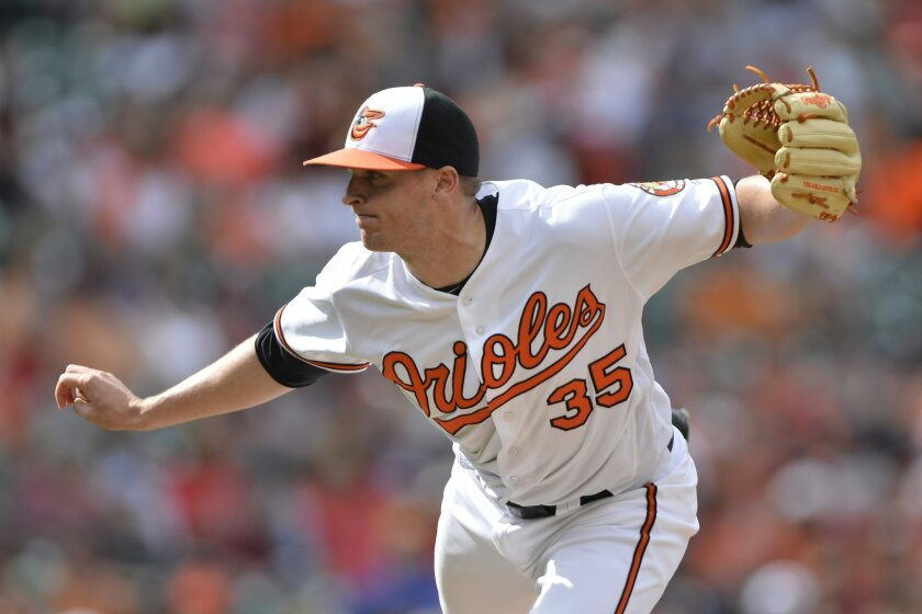 Jul 10, 2016; Baltimore, MD, USA; Baltimore Orioles relief pitcher Brad Brach (35) pitches during the eighth inning against the Los Angeles Angels at Oriole Park at Camden Yards. Baltimore Orioles defeated Los Angeles Angels 4-2. Mandatory Credit: Tommy Gilligan-USA TODAY Sports ** Usable by SD ONL