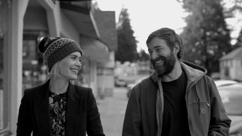 "Sarah Paulson and Mark Duplass in the movie ""Blue Jay."""