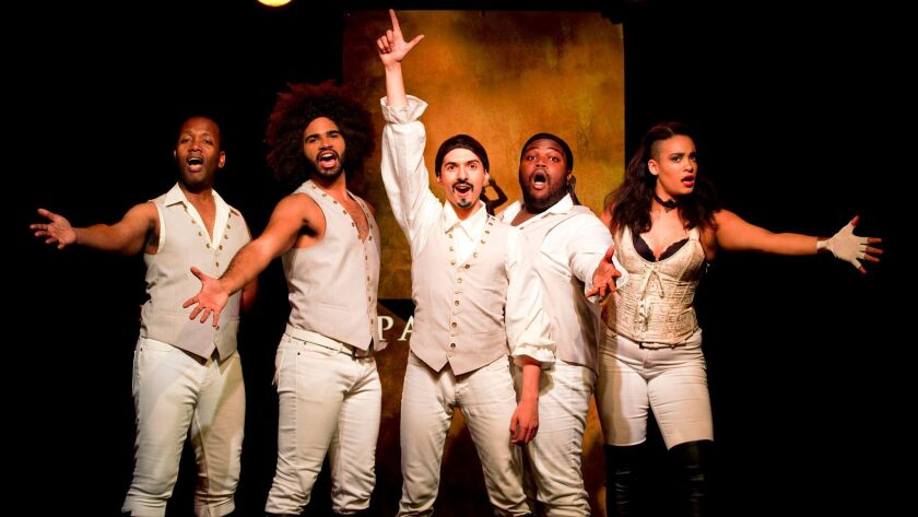 """Chris Anthony Giles, left, Nicholas Edwards, Dan Rosales, Juwan Crawley and Nora Schell in the Off-Broadway production of """"Spamilton"""" at the Triad. """"Spamilton"""" will play the 2017-18 season at Center Theatre Group's Kirk Douglas Theatre from Nov. 5 through Dec. 31."""