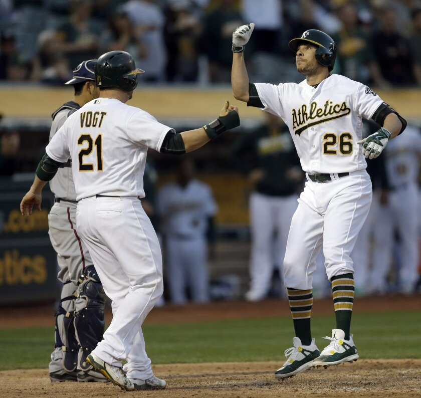 Oakland Athletics' Danny Valencia, right, is congratulated by Stephen Vogt (21) after hitting a two run home run off Minnesota Twins' Tyler Duffey in the third inning of a baseball game Tuesday, May 31, 2016, in Oakland, Calif. (AP Photo/Ben Margot)