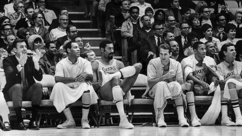 Dec. 20, 1968: Los Angeles Lakers from left: coach Bill Van Breda Kolf, Elgin Baylor, Wilt Chamberlain, Jerry West, Bill Hewitt, and Keith Erickson.