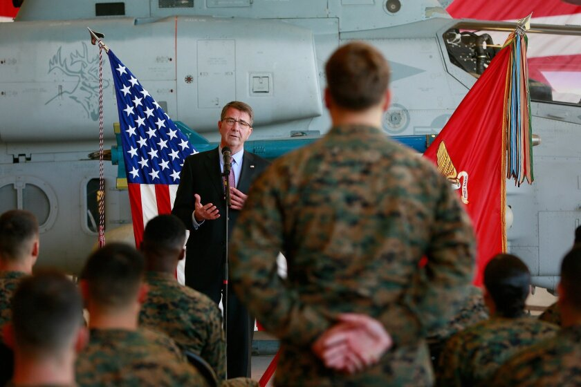 Defense Secretary Ash Carter talks with troops Wednesday afternoon at Miramar Marine Corps Air Station.  / photo by Misael Virgen * U-T