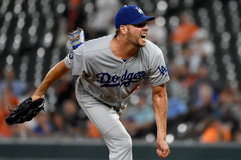 Dodgers starter Rich Hill pitches against the Baltimore Orioles on Thursday.