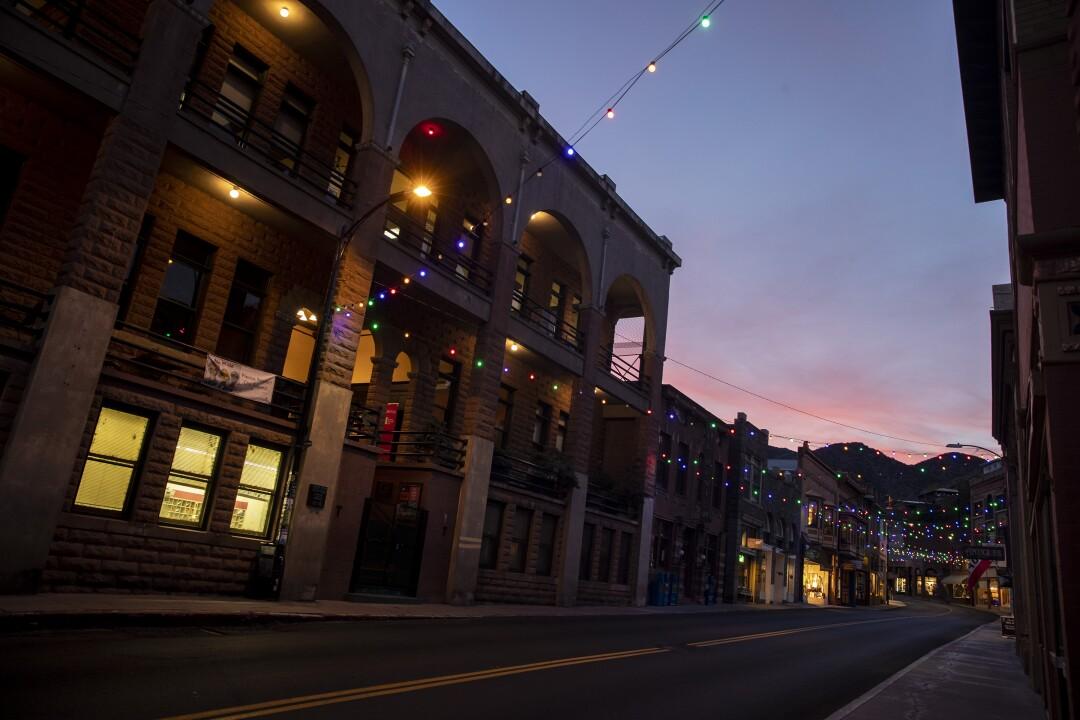 Main Street in downtown Bisbee is deserted Sunday evening in Bisbee, AZ.