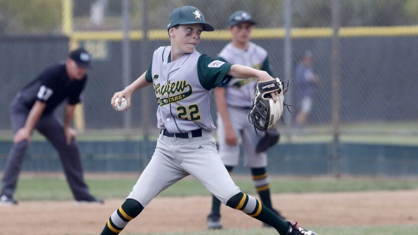 Seaview Little League's Noah Hunter pitches against Costa Mesa American in a Little League District