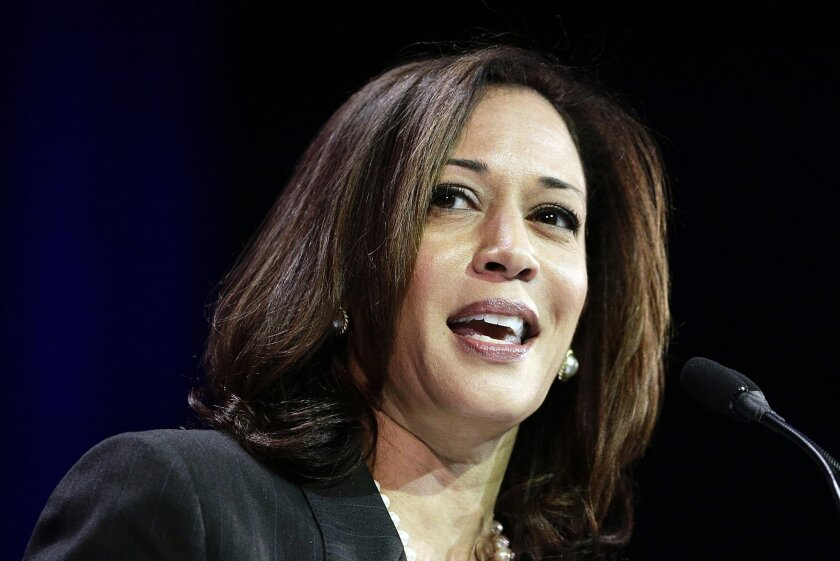 FILE - In this March 8, 2014, file photo, California Attorney General Kamala Harris speaks during a general session at the California Democrats State Convention in Los Angeles. Barbara Boxer announced Thursday, Jan. 8, 2015, that she will not seek re-election in 2016. An adviser with knowledge of h