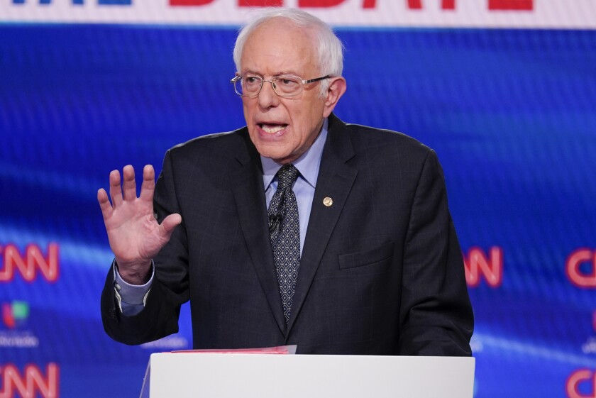 FILE - In this March 15, 2020, file photo, Sen. Bernie Sanders, I-Vt., participates in a Democratic presidential primary debate at CNN Studios in Washington. The progressive advocacy group Our Revolution is rebranding now that Bernie Sanders is no longer the undisputed leader of the left. (AP Photo/Evan Vucci, File)