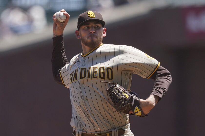 Joe Musgrove pitches against the San Francisco Giants on Saturday at Oracle Park.
