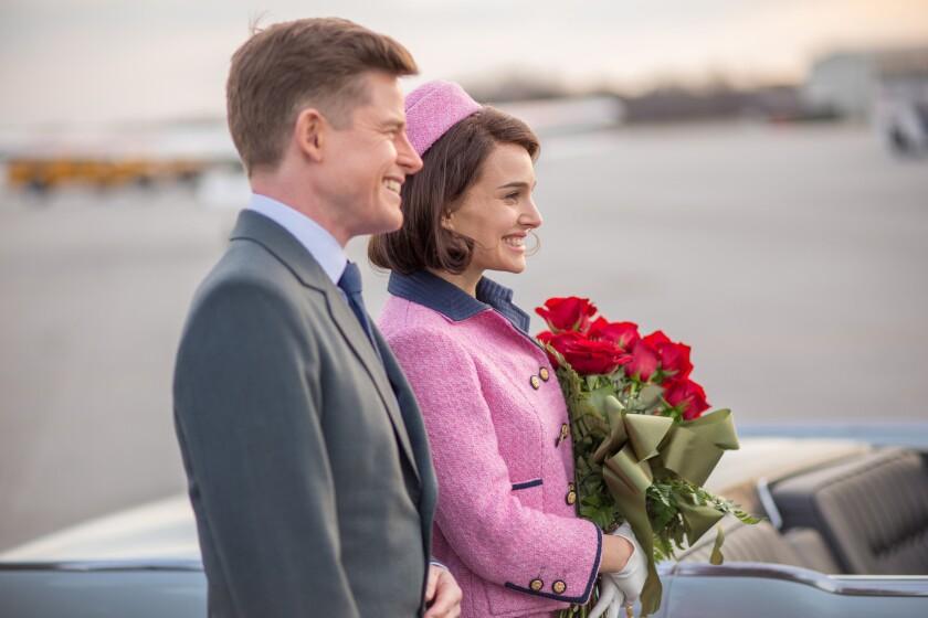 "Caspar Phillipson as John F. Kennedy and Natalie Portman as Jackie Kennedy in ""Jackie."""