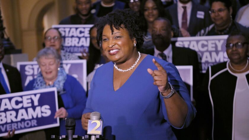 Democrat Stacey Abrams speaks to supporters in March.