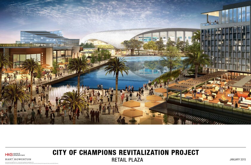 An artist's rendering of the retail plaza proposed for the 238-acre Hollywood Park site to include an 80,000-seat football stadium.