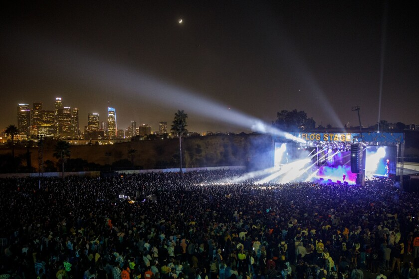 Fans watch as Jaden Smith performs on stage during Camp Flog Gnaw music carnival at Dodger Stadium o