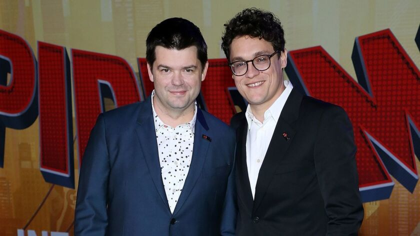 "Christopher Miller, left, and Phil Lord attend the world premiere of Sony Pictures Animation and Marvel's ""Spider-Man: Into The Spider-Verse"" at Regency Village Theatre on Dec. 1, 2018, in Westwood."