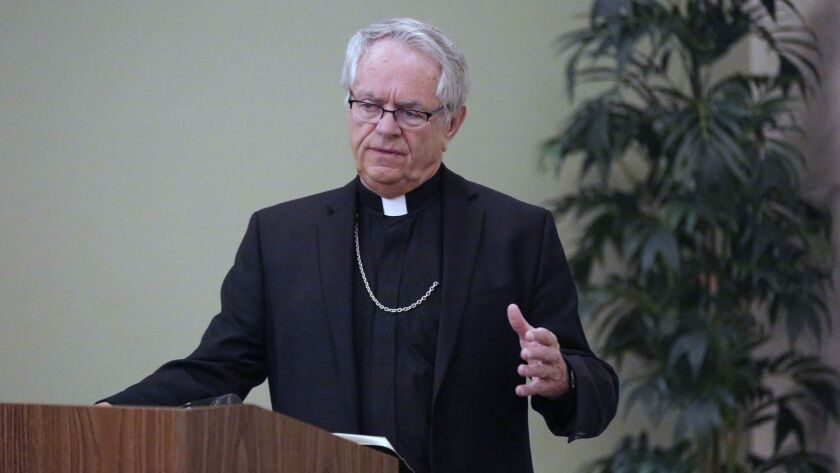 Bishop George Leo Thomas speaks during a press conference at the Catholic Diocese of Las Vegas Frida