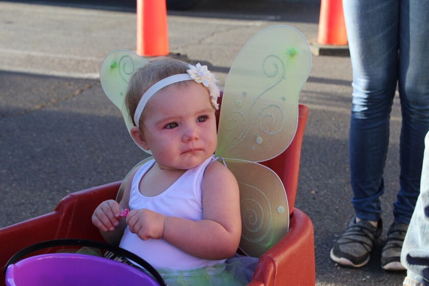 Holding a piece of candy, 1-year-old Riley Dawn Chenowth as Tinker Bell isn't sure what to make of all the creatures strolling Main Street.
