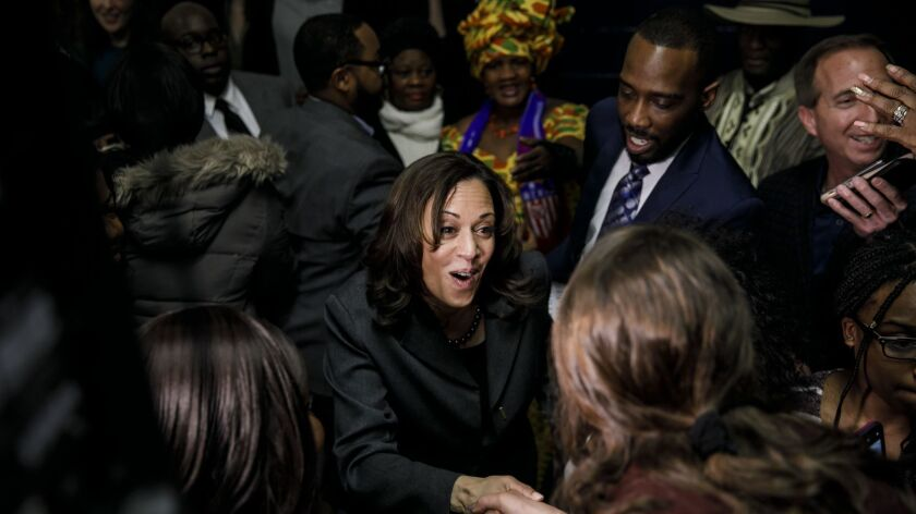 DES MOINES, IOWA -- SATURDAY, FEBRUARY 23, 2019: Sen. Kamala Harris attends an annual Iowa Democrati