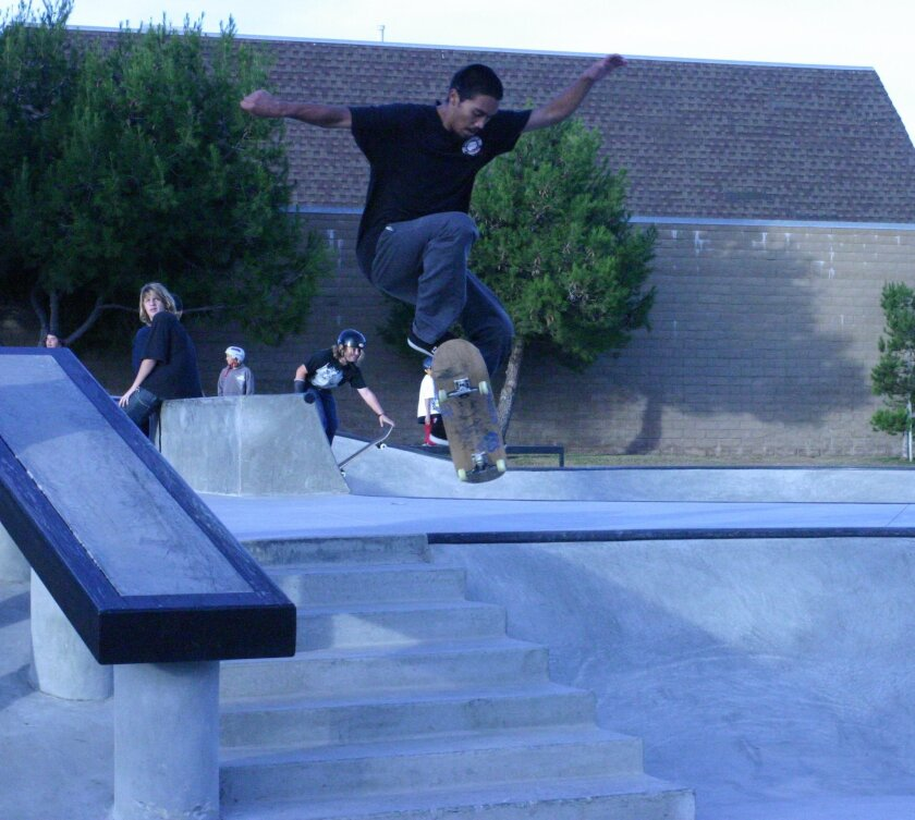 Rico Arce, 19, has been skateboarding for 10 years. He clears a seven-step at Imperial Beach's new skate park, located at 425 Imperial Beach Blvd.