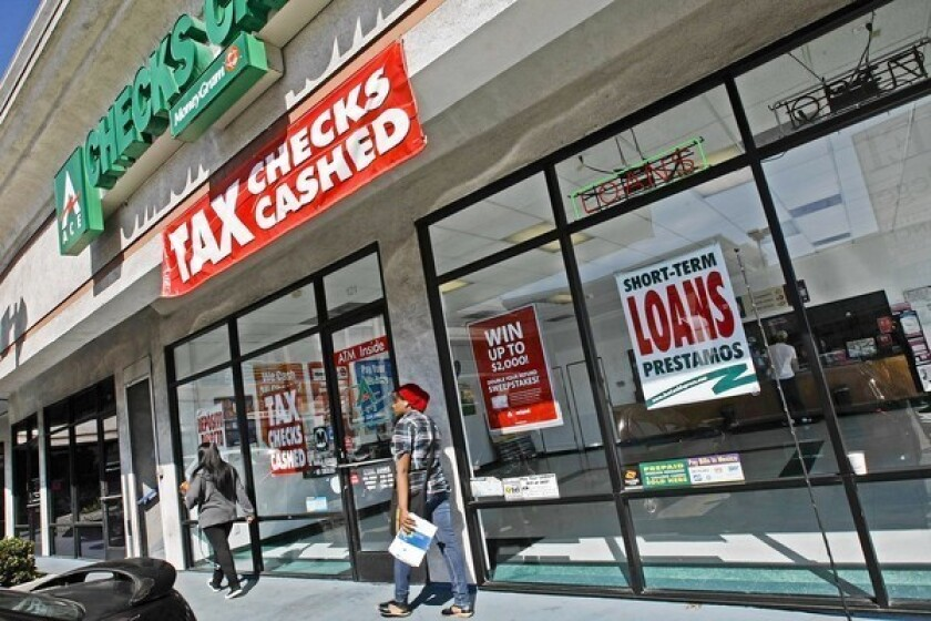The payday loan industry argues Senate Bill 515 attempts to severely limit or kill an already highly regulated industry that provides a vital service for strapped Californians. Above, a payday lender in Van Nuys in 2010.