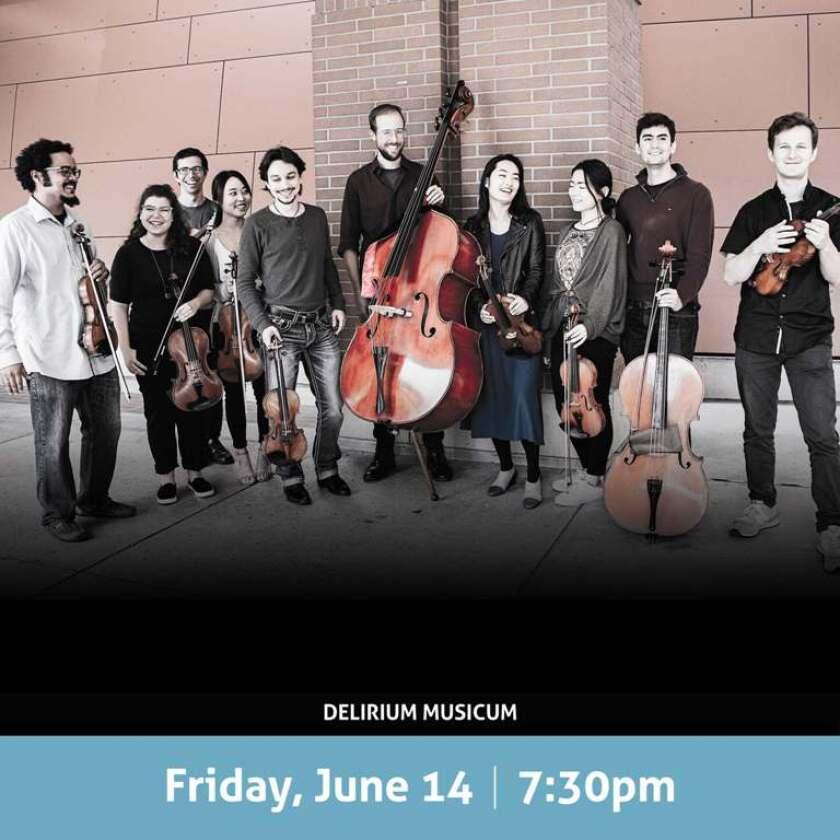 Delirium Musicum will perform Friday, June 14, 7:30 p.m. at the Encinitas Library.