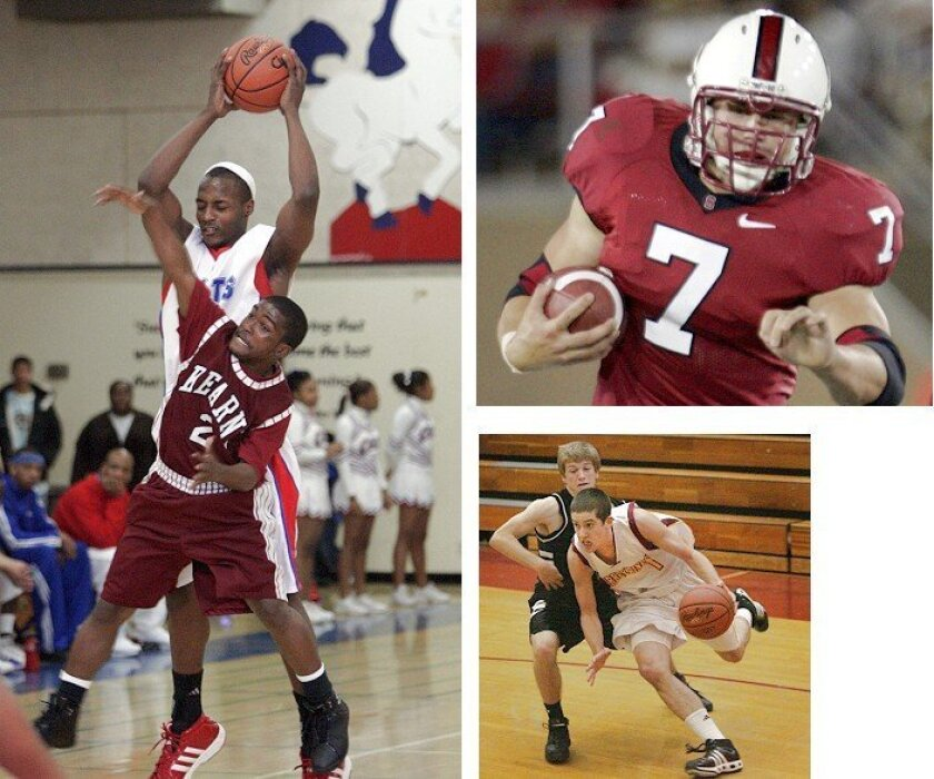 Tyrone Shelley (far left), the San Diego Section's all-time scoring leader in boys basketball, already was 19 when he began his senior season at Crawford High. Toby Gerhart (above top), now at Stanford, is California's all-time high school rushing leader; his parents had him switch schools and repeat sixth grade in Norco. The parents of former Torrey Pines High star James Rahon (above bottom), now at San Diego State, waited a year to enroll their son in kindergarten.