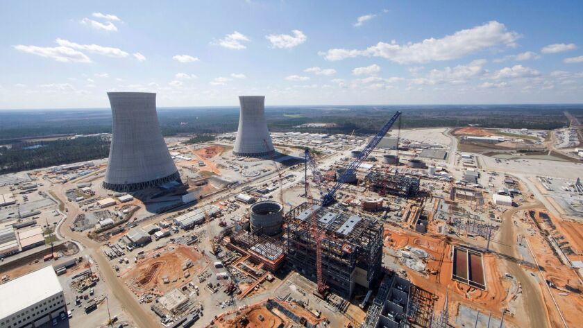 The Vogtle Unit 3 and 4 site, being constructed by primary contractor Westinghouse, a business unit of Toshiba, near Waynesboro, Georgia, is seen in an aerial photo taken Feb. 2017.