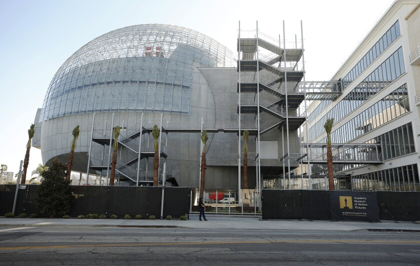 The spherical theater attached to the historic May Company building at the Academy Museum of Motion Pictures.