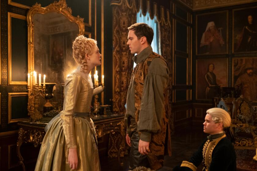 """I find you grating: Catherine (Elle Fanning) and Peter III (Nicholas Hoult) have an up-and-down relationship in """"The Great."""""""