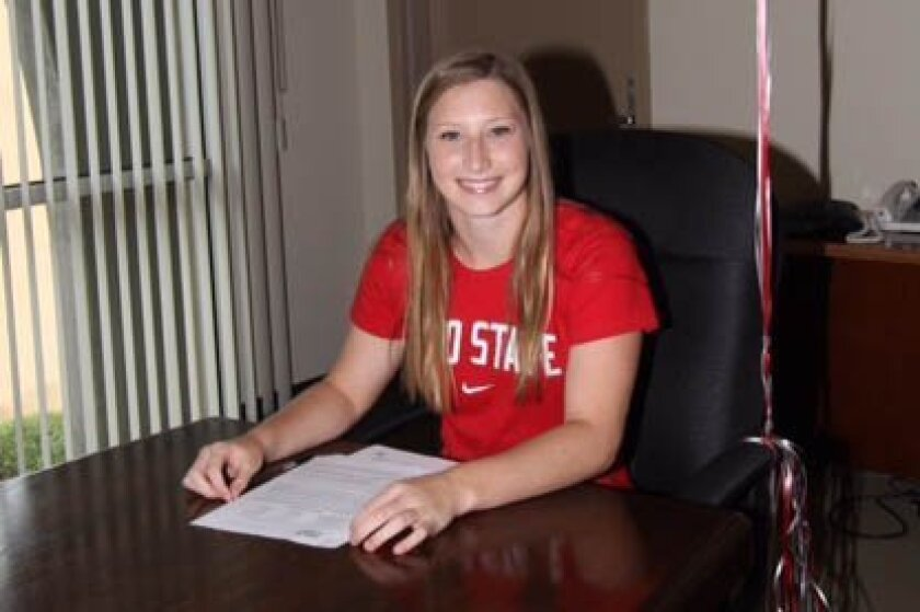 Escondido Charter champion diver Taylor Pamplin signed a letter of intent to attend Ohio State.
