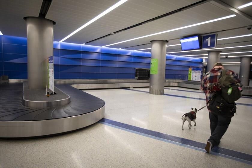 A man and his dog at LAX airport