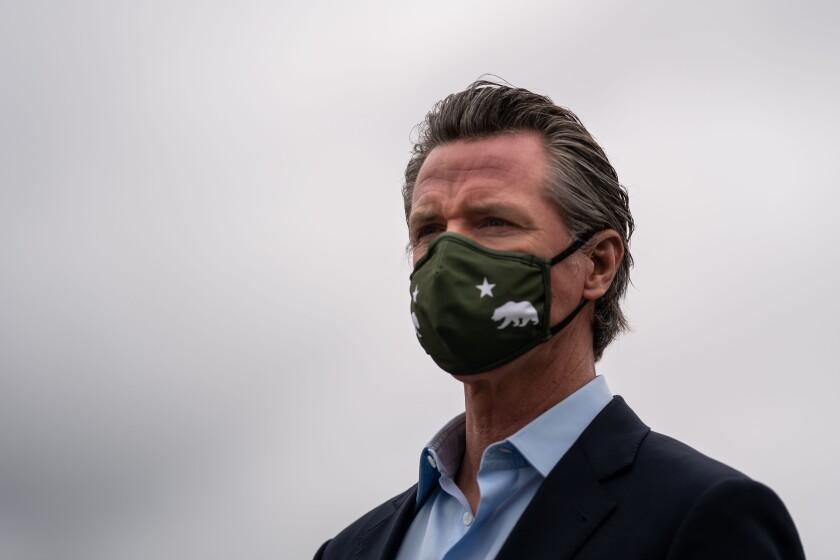 Gov. Gavin Newsom wearing a mask