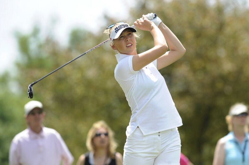 Jessica Korda hits from the second tee during the final round of the LPGA Volvik Championship golf tournament at the Travis Pointe Country Club, Sunday, May 29, 2016 in Ann Arbor, Mich. (AP Photo/Jose Juarez)