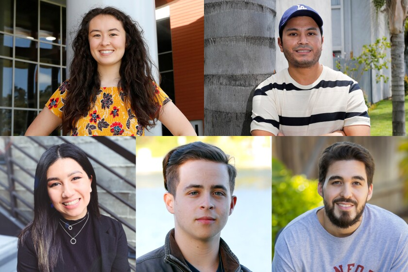 Amid a global pandemic, Orange County college graduates (clockwise from top left) Sydney Roberts, Oscar Flores, Austin Salcedo, Daniel Tsentsiper and Amanda Fuentes reflect on their last semester and near future.