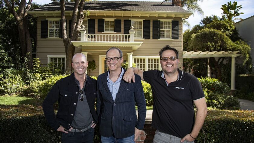 LOS ANGELES, CA - JANUARY 24, 2019: Producer Tripp Vinson, left, director Nicholas McCarthy, middle,