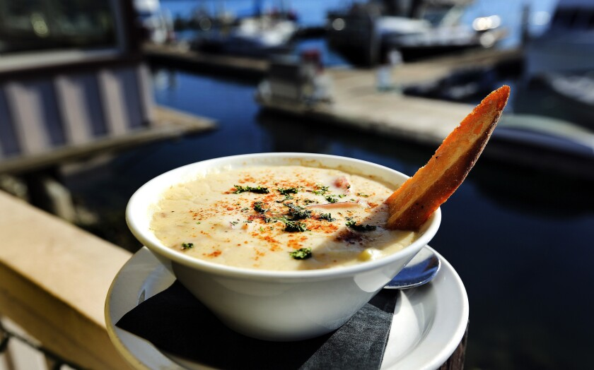 New England clam chowder is on the menu at Rhumb Line restaurant in Ventura.