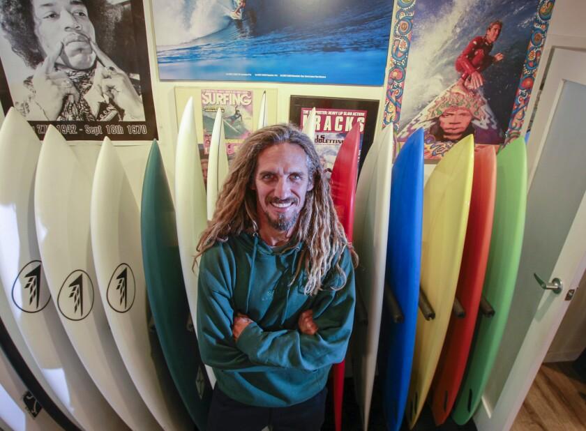 Surfing legend Rob Machado poses for photos at The Salty Garage on November 8, 2019 in Encinitas, California. Machado now shapes custom surfboards.