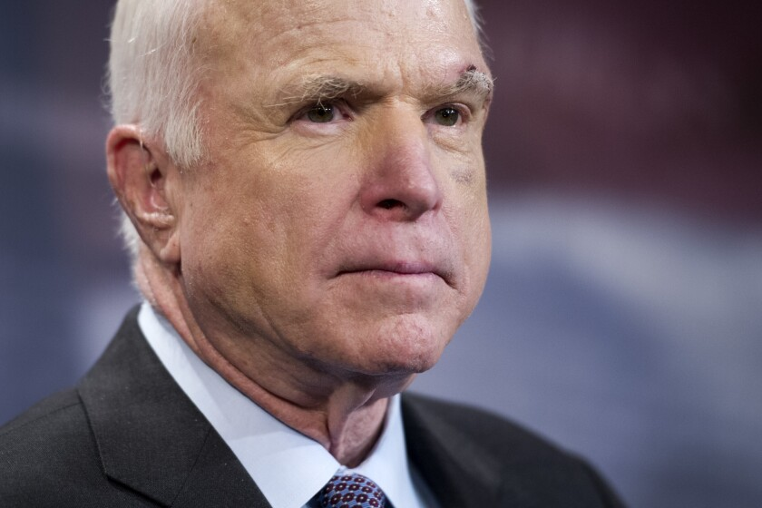 """Sen. John McCain of Arizona cast a crucial vote against his party's """"skinny repeal"""" plan to undo parts of the Affordable Care Act, which failed by a 51-49 tally."""